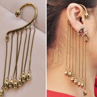 Wholesale Fashionable Two sided Skull Tassel Ear Hook Earrings For Women Ear Cuff Chain