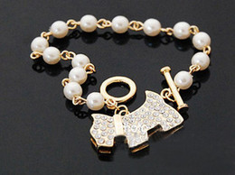 Wholesale CZ Puppy Pearl Chain Fashion Bracelet Color Dog With Rhinestone