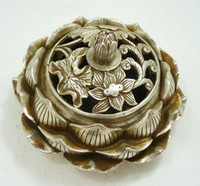 Wholesale collectable Tibetan silver lotus flower figure censer beautiful incense burner