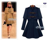 Wholesale 2014 New Slim waist cape style coat Women s England shawl small epaulette coat