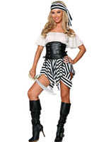 Wholesale Cosplay Sexy Pirate Costumes For Women Adult Exclusive Deluxe Pirate Costume Waist Cincher Top Striped Skirt Uniforms Outfits O28041