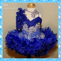 Wholesale Lovely Little Girl s Formal Dress Ball Gown Mini Asymmetrical National Glitz Pageant Dress