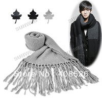 Wholesale Men s New Fashion Warm Winter Knitted Cotton Tassel Shawl Long Scarf Colors