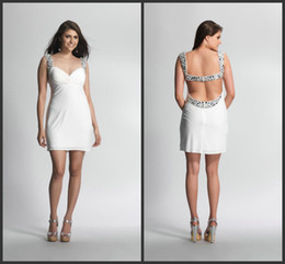 Wholesale 2016 Custom Made Luxury Crystal Beaded White Chiffon Short Sexy Backless Night Club Evening Dresses cocktail Dresses Beaded Sequins Cheap