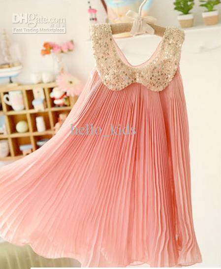Baby Girl Kids Sequin Dress Chiffon Dress Pleated Dress Fluffy ...