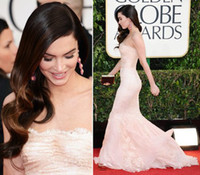 Trumpet/Mermaid Reference Images Portrait Megan Fox 2014 70th Golden Globes Strapless Light Pink Mermaid Lace Celebrity Dress Wedding Gowns