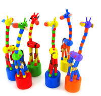 Wholesale Wooden Puppet Toy Inches Shaking Dancing Cartoon Wooden Giraffe Baby Educational Toy