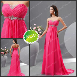 Wholesale 2013 Crystal Beaded Sweetheart Neckline Fuchsia Brush Train Chiffon Empire Evening Formal Dresses