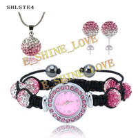 Wholesale New Fashion mm Disco Gradient Color Crystal Ball Watch Jewelry Set Wedding jewelry SHLSTE4