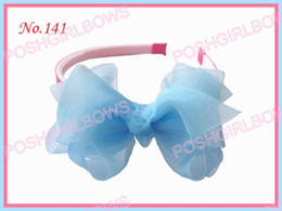 Free shipping 65pcs Girls Headband with 3-3.5 silk flower hair bow girl organza hairbands