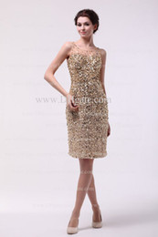 Wholesale 2013 New Sexy BlingBling Gold Sequins Rhinestone Tulles Mini Short Knee Length Cocktail Dresses