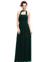 Reference Images Halter Chiffon A-line Greens Halter Ruched Empire Floor-length Chiffon Bridesmaid Dresses Evening Dresses