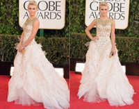 al por mayor vestido blanco globo de oro-Julianne Hough 2014 Golden Globe Premios Blanco Oro Boda Vestidos de novia Beaded Celebrity Ball Gown