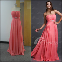 Wholesale Simple Strapless Coral Pink Empire A line Floor Length Zipper Chiffon Prom Dress Bridesmaid Dress