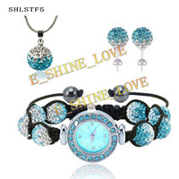 Wholesale New Fashion mm Disco Gradient Color Crystal Ball Watch Jewelry Set Wedding jewelry SHLSTF5