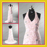 Wholesale 2013 Sexy Halter Strap Beaded Sequined Motifs Sweep Train Sheer Chiffon Sheath Evening Prom Dresses