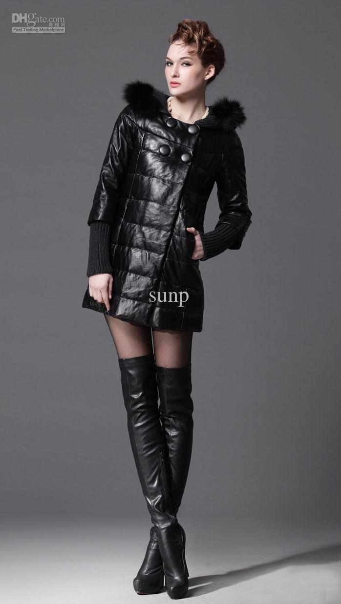 Real Leather Down Coat For Women,Middle And Long Length Real Leather