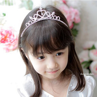 Rhinestone fashion rhinestone crown - Girl Hair Accessroies Rhinestone Crown Headband Noble Princess Fashioned CZ Diamond Hair band