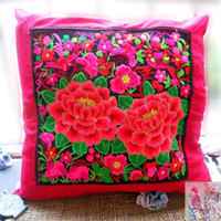 Wholesale embroidery flower cushion cover pillow cover ethic retro style red beautiful pillow case