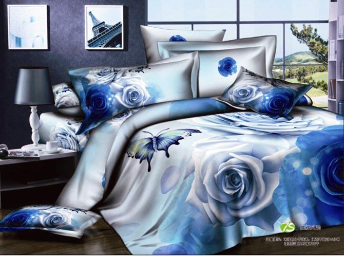 Floral Blue Print Bedding Set Queen Size Cotton Comforter