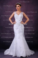 Model Pictures Portrait Organza Real picture !2012 Sexy New V Neck Mermaid Organza Exquisite Applique Wedding Dresses MGN131