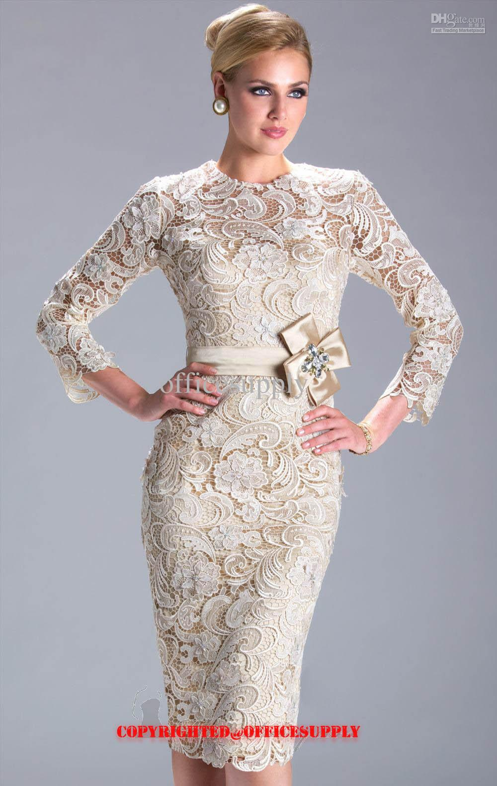 2017 New Champagne Long Sleeved Knee Length Lace Evening Dress ...