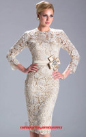 banded dress shirt - Champagne Long Sleeved Knee Length Lace Evening Dress Mother of the Bride Gown with Band N3396