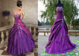 Wholesale Hot Sale A Line Sweetheart Floor length Applique Beaded Fold Purple Quinceanera Dresses