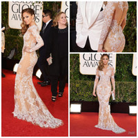 Wholesale 70th Gold Globe Awards Long Sleeve white lace nude Mermaid red carpet celebrity dress