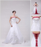 Wholesale 2013 DHgate New Sexy A Line Sweetheart Red And White Chapel Train Embroidery Wedding Dresses DH4201