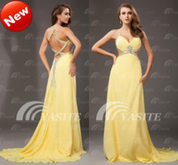 Wholesale Super Sexy V neck Open Back A line Crystal Beads Sequins Pleated Chiffon Full Length Prom Dresses