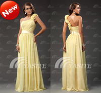 Wholesale Factory Promotion Chiffon Bridesmaid Dresses One Shoulder A line Floor Length Ruche Hand Made Flower