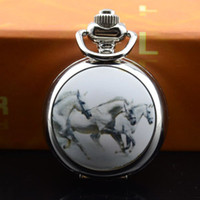 Unisex antique gold watch chain - Three horses small white steel Pocket Watch with chain cm size mm