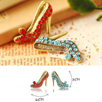 Wholesale Fashion Pins Brooches Sexy Girl Vintage High heeled Shoes Diamond Brooch