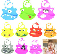 Wholesale EASY WASHABLE CRUMB FOOD CATCHER ROLL SILICONE BABY BIBS infant feeding kid bib FUNNY DESIGHN