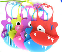 MIX colors baby bibs images - Silicone baby bibs Infant Feeding Baby Kid Bib Fun Characters Waterproof cartoon image