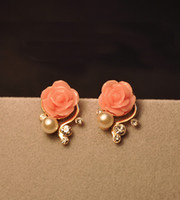 Wholesale New Arrival Gorgeous Pink Rose Flower Pearl Stud Earrings Diamond Earrings Party Earrings Pair