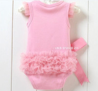 Wholesale Baby One Piece Romper Girls pink lace bag fart Romper Triangle jumpsuit