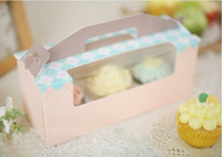 Wholesale Cake box blue powder portable window case MaFen box cupcakes box