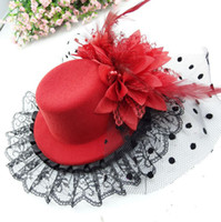 Wholesale 13cm Billycock Hair Clip Women Feather Mini Top Hat Fascinator Decoration Cocktail Bride Party Girl