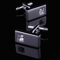 Wholesale XMAS GIFT pair CUFF LINKS SILVER CLEAR Swarovski CRYSTAL rectangular WEDDING GROOM VINTAGE ST