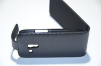 Wholesale Black Carbon Fiber Synthetic PU Flip Leather Case Cover For Samsung i8190 Galaxy S3 mini