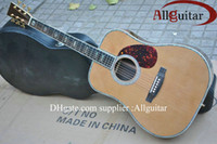 Wholesale 100 Workmanship D45 Acoustic natural AAA top Solid spruce W Pickups Abalone Binding Body Acoustic guitar