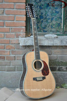 Wholesale Deluxe string D Acoustic natural AAA top Solid spruce Abalone Binding Body Acoustic guitar