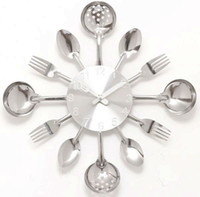Wholesale wall clock Knife Fork Spoon Originality clock Kitchen Restaurant The wall Decoration quartz