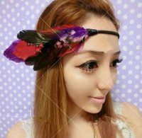 Bohemian Children's Chirstmas NEW Women feather headband hairband Hair Jewelry elastic HEADBANDS hairpin hair tie Hair Accessories