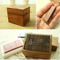 Wholesale Hand Writing Wooden Rubber Alphabet Letter Stamp Antique Wood Stamper Box Toy