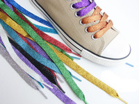Wholesale pair Double Flat shoelace Sports Canvas Sneaker Shoe Laces Glitter Metallic Colour