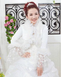 Wholesale Long Steeve Lace Organza Ruffles In Wedding Jacket Bridal Dresses Capelet Mantilla Prom Dresses