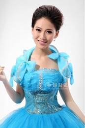 Wholesale Custom Sky Blue Jacket In Wedding Bridal Dresses Capelet Mantilla Short Steeve Organza Bowknot